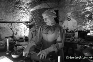 Meat and vegetable preparation in the kitchen of Stirling Castle